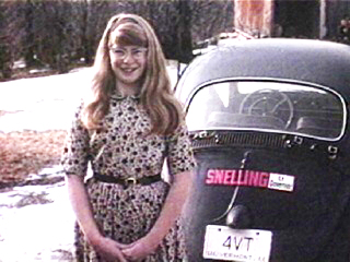 Diane Snelling with her father's car and Governor Richard Snelling campaign sticker